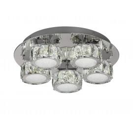 Plafon redondo Elegance de 5 luces LED redondas con difusor acristalado.