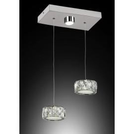 Colgante Elegance 2 luces redondas LED con difusor acristalado y base rectangular con 1 luz LED.