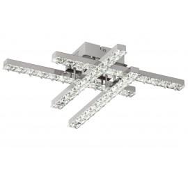 Plafón Brno 28W 4000k en cromo y cristal, compuesto por 4 brazos