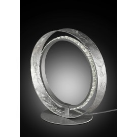Sobremesa LED circular 14W. Acabados en pan de plata